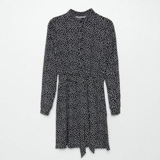 Cropp - Koszulowa sukienka z elastyczną talią - Czarny