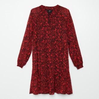 Cropp - Sukienka w kwiaty z falbaną - Czerwony