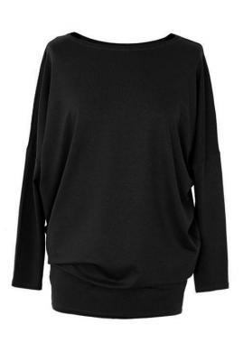 Bluzka tunika z wiskozy czarna basic 2xl (48-50)
