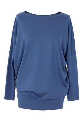 Bluzka tunika z wiskozy niebieska basic 2xl (48-50)