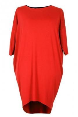 Czerwona sukienka dzianinowa oversize susan