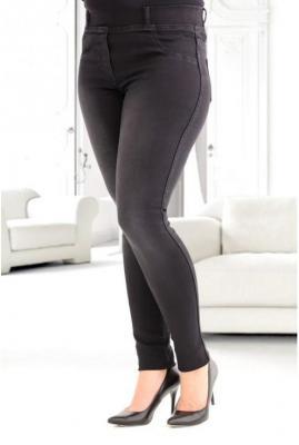 Czarne spodnie jeansowe na gumkę duże rozmiary justine 7xl (54)