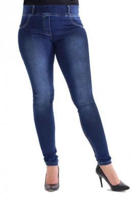 Ciemne spodnie jeansowe na gumkę justine 6xl (54)