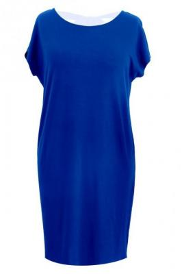 Prosta kobaltowa sukienka z kokardą izabela 3xl (48/50)