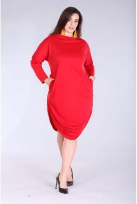Czerwona sukienka w dużych rozmiarach zoe 2 4xl (52)