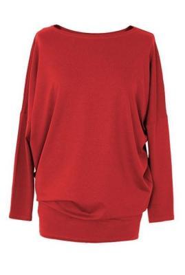 Bluzka tunika z wiskozy czerwona basic 2xl (48-50)