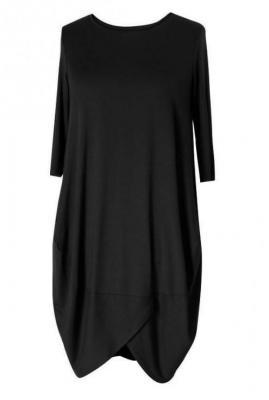 Czarna sukienka z wiskozy lucy - rękaw 3/4 2xl (48-50)