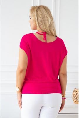 Różowa dzianinowa bluzka z krótkim rękawem - dora 48/50