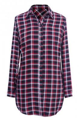 Długa koszula-tunika w drobną czarno-czerwoną kratę - sheila 40