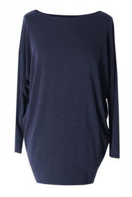 Granatowa bluzka tunika basic (ciepły materiał) 2xl (48-50)