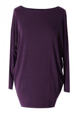 śliwkowa bluzka tunika basic (ciepły materiał) 2xl (46-48)