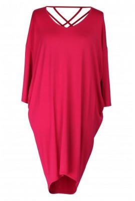 Sukienka z paseczkami na plecach esther - kolor różowy 48-52