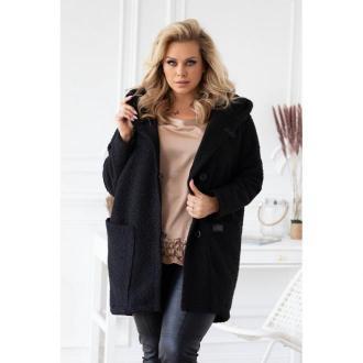 Czarny płaszcz oversize z kapturem tiffany 2xl (50-52)