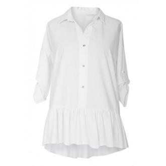Biała bluzka / koszula z falbanką sabrina 48/50