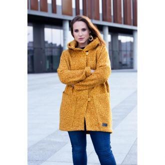 Musztardowy płaszcz oversize z kapturem tiffany xl (46-48)