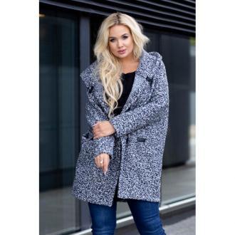 Melanż płaszcz oversize z kapturem tiffany 2xl (50-52)