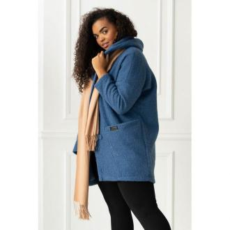 Płaszcz oversize z kapturem tiffany - kolor jeansowy 3xl (52-54)