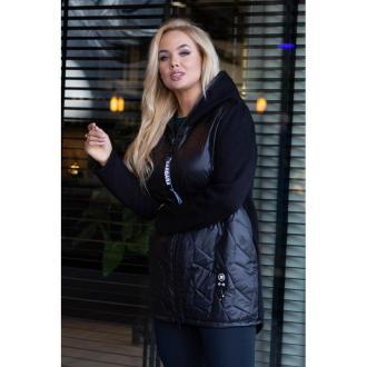 Czarna bluzo-kurtka z łączonych materiałów - katy 52