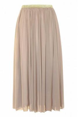 Beżowa tiulowa spódnica ze złotą gumką - holly