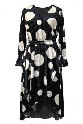 Granatowa sukienka w srebrne kropki - dolce welur 48