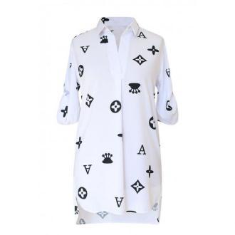 Biała tuniko - koszula modnym wzorem krótki rękaw - susanny 48