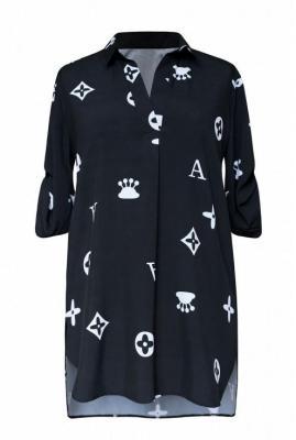 Czarna tuniko - koszula z wzorem krótki rękaw - susanny 48