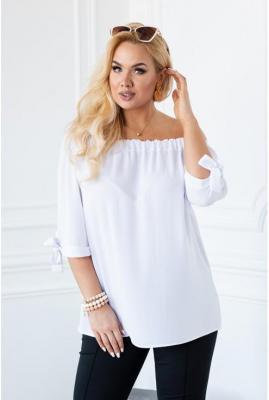 Biała bluzka hiszpanka z wiązanym rękawem nina 2 (44-46)