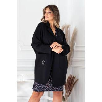Czarny elegancki płaszczyk z długim rękawem - della l/xl (46/48-52)