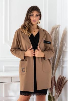 Brązowy elegancki płaszczyk z długim rękawem - della s/m (42-44/46)