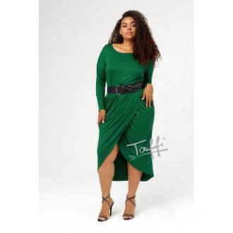 Zielona sukienka przekładana z marszczeniem - terra
