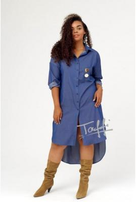Sukienka koszulowa w kolorze jeansowym - revlo