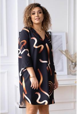 Czarna sukienka w złoty ombre wzór - chiara 50