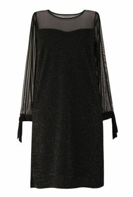 Czarna błyszcząca sukienka z wiązaniem na rękawie - adessina 2 (40/42)
