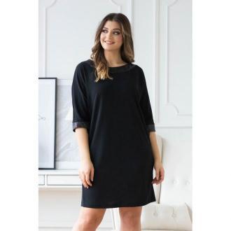 Czarna sukienka z taśmą z cekinami - olia 50