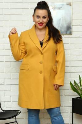 Płaszcz flauszowy wiosenny MEGI kieszenie patki musztardowy