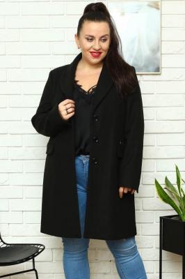 Płaszcz flauszowy wiosenny MEGI kieszenie patki czarny