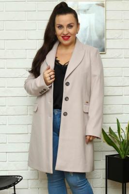 Płaszcz flauszowy wiosenny MEGI kieszenie patki beżowy