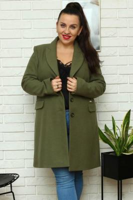 Płaszcz flauszowy wiosenny MEGI kieszenie patki khaki
