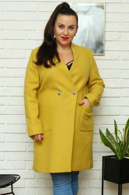 Płaszcz flauszowy dwurzędowy ze stójką PAMELA limonkowy