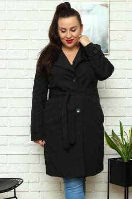 Płaszcz prochowiec ROZALIA z paskiem czarny