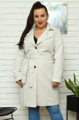 Płaszcz prochowiec ROZALIA z paskiem popielaty