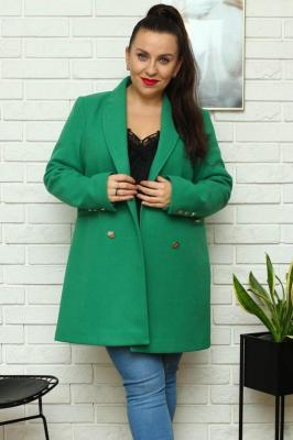 Płaszcz flauszowy dwurzędowy SARSA zielony