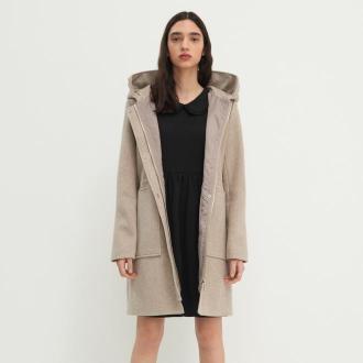House - Melanżowy płaszcz z kapturem - Kremowy