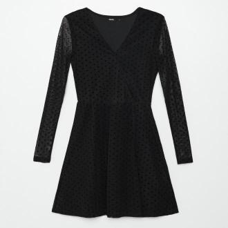 Cropp - Kopertowa sukienka w groszki - Czarny