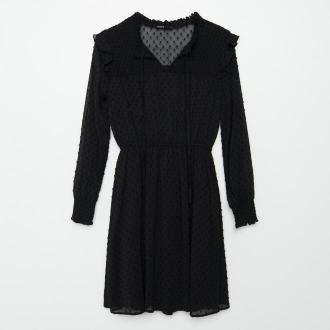 Cropp - Szyfonowa sukienka z wiązaniem - Czarny