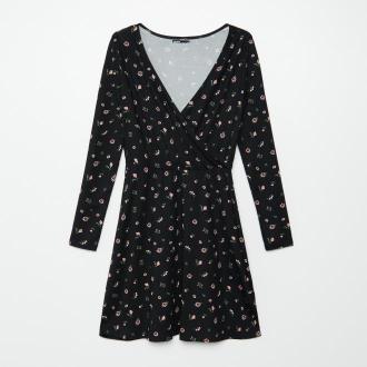Cropp - Sukienka z kopertowym dekoltem - Czarny