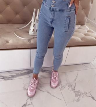 Spodnie skinny high waist z guzikami jeans Kimi 26