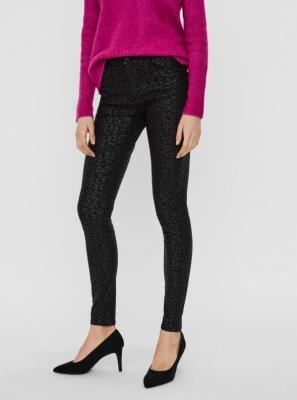 Czarne wzorzyste spodnie skinny fit VERO MODA - XL