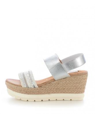 Srebrne sandały na koturnie QUALSO