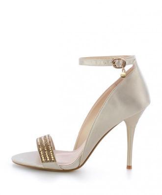 Beżowe sandały na szpilce z ozdobnym paskiem NEIRONE